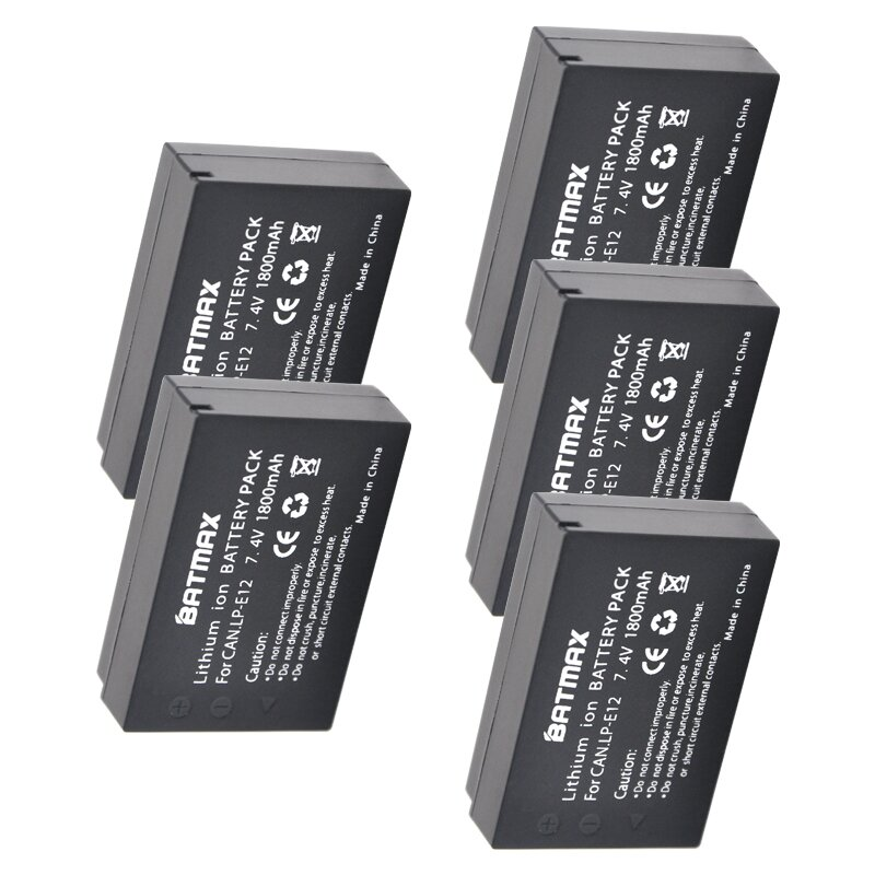 5Pcs 1800mAh LP-E12 LPE12 LP E12 Camera Battery For Canon EOS 100D Kiss X7 Rebel SL1 EOS M10 DSLR Battery 2pack lp e12 lp e12 lpe12 high capacity replacement batteries 1800mah for canon rebel sl1 eos m eos m2 eos m10 mirrorless