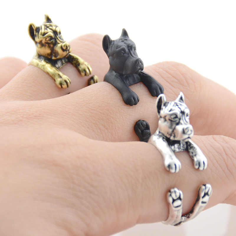 Antique Silver 3D Pit Bull Puppy Dog Animal Rings Vintage Boho Pitbull Wrap Ring