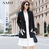 Amii Casual Women Woolen Coat 2017 Winter Embroidery Turn Down Collar Covered Button Female Wool Blends