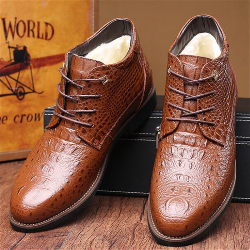 High Quality British Men Boots Winter Shoes Men Fashion Lace-up Boots Genuine Leather Snake Skin Style Plush Male Boots 38-46 Men's Boots