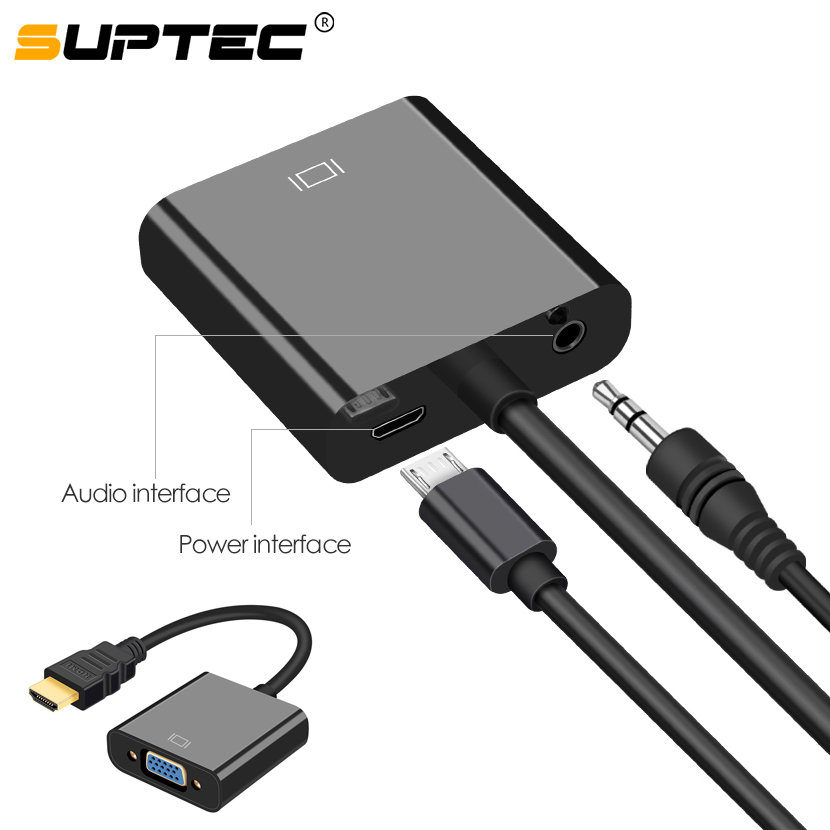 SUPTEC HDMI To VGA Adapter Converter 1080P Digital To Analog Video Audio Adaptor For PS4 TV Box Laptop To PC Screen TV Projector