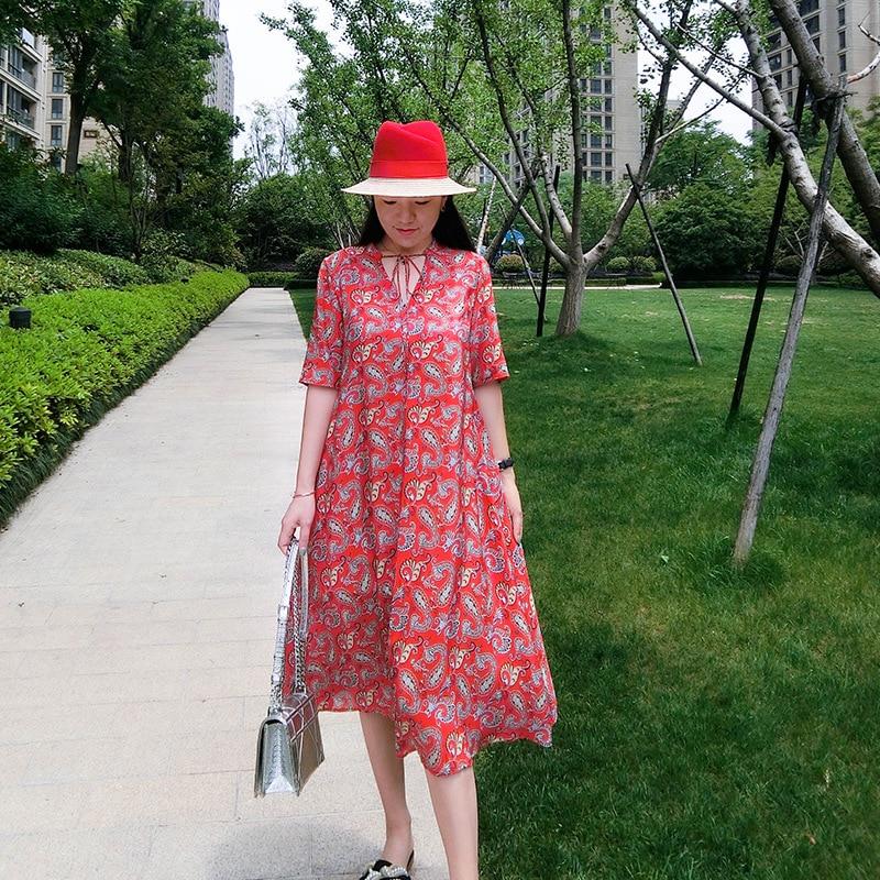 Manches Été Col V Plage End Moitié Femmes Bohème Robes Soie New 2019 Red Robe De High Réel 100 Luxe Impression fqAPf1