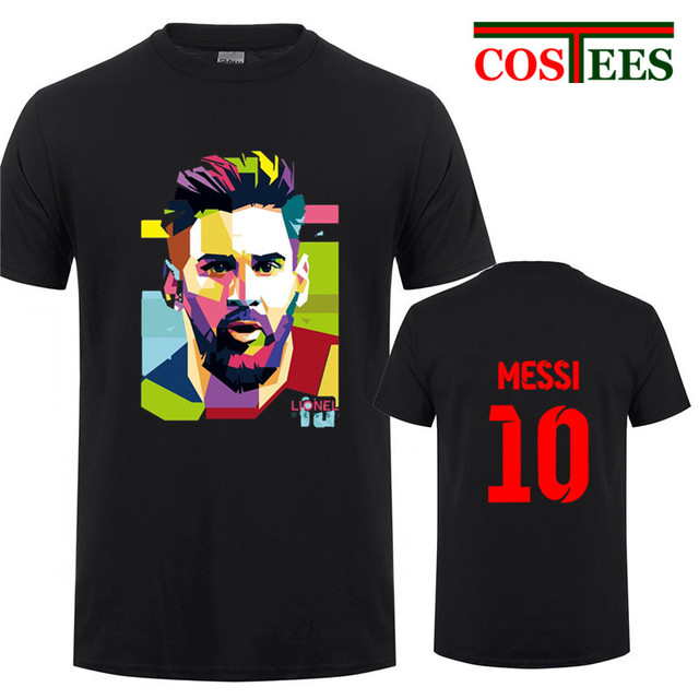 710755151 2018 Lionel Messi Shirt Barcelona Men s Short sleeve Messi 10 T-shirt  cotton tshirt Tops