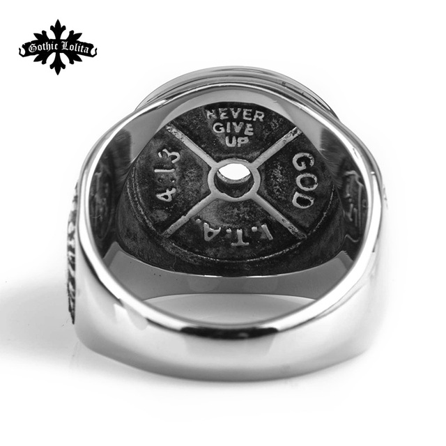 Dumbbell Splicing  Stainless steel Ring   fitness barbell  For Men Jewelry