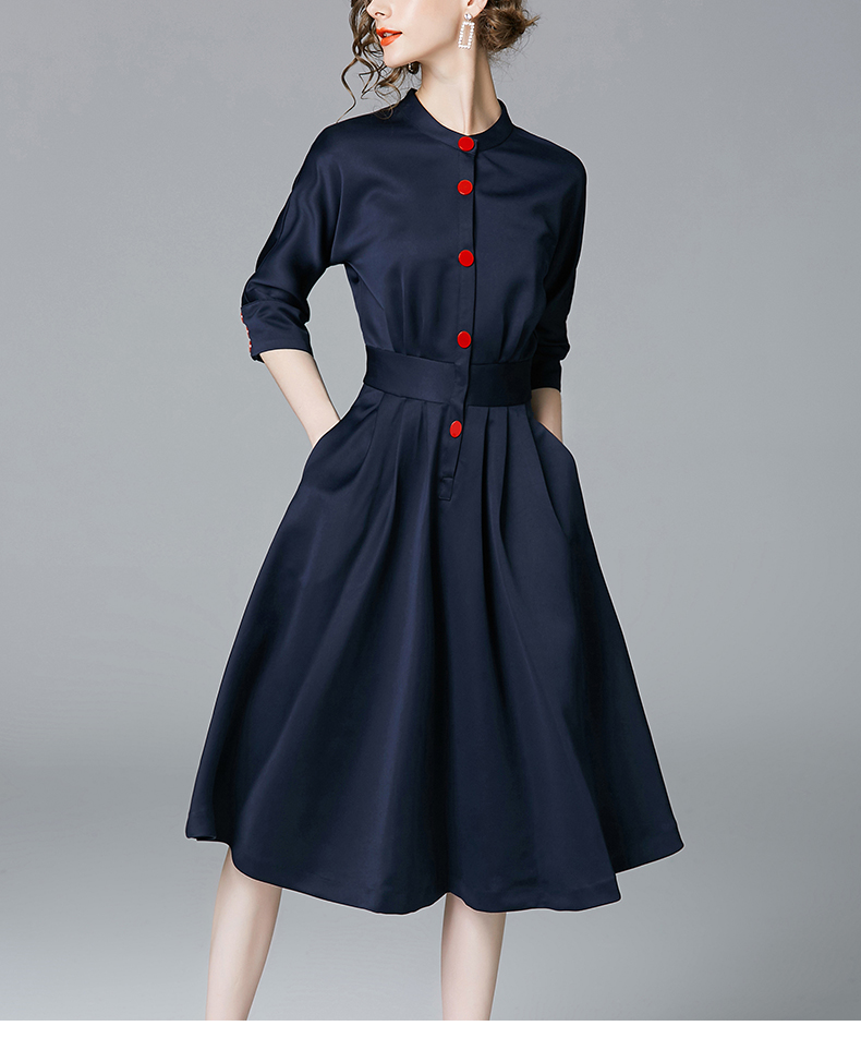 New Spring Autumn Vintage Dresses Women Slim 3/4 Sleeve A Line Office Wear Dress Elegant Laides Ol Work Business Dresses 4