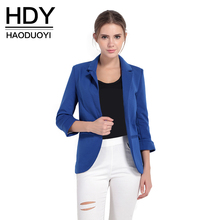 HDY Haoduoyi Solid White OL Lapel Blazer 3/4 Sleeve Workwear Jackets Casual Blue Notched Outwear Overcoat