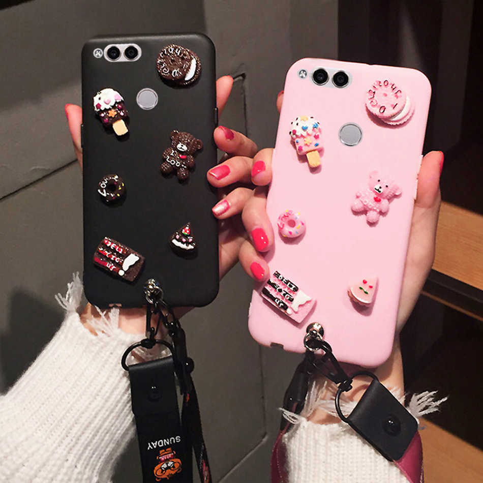 3D Cute Bear DIY Candy Case For OPPO A59/F1S A83 A33 A37 A39 A35 A57 A71 Cartoon Lanyard Cover Kawaii Soft TPU Phone Cases