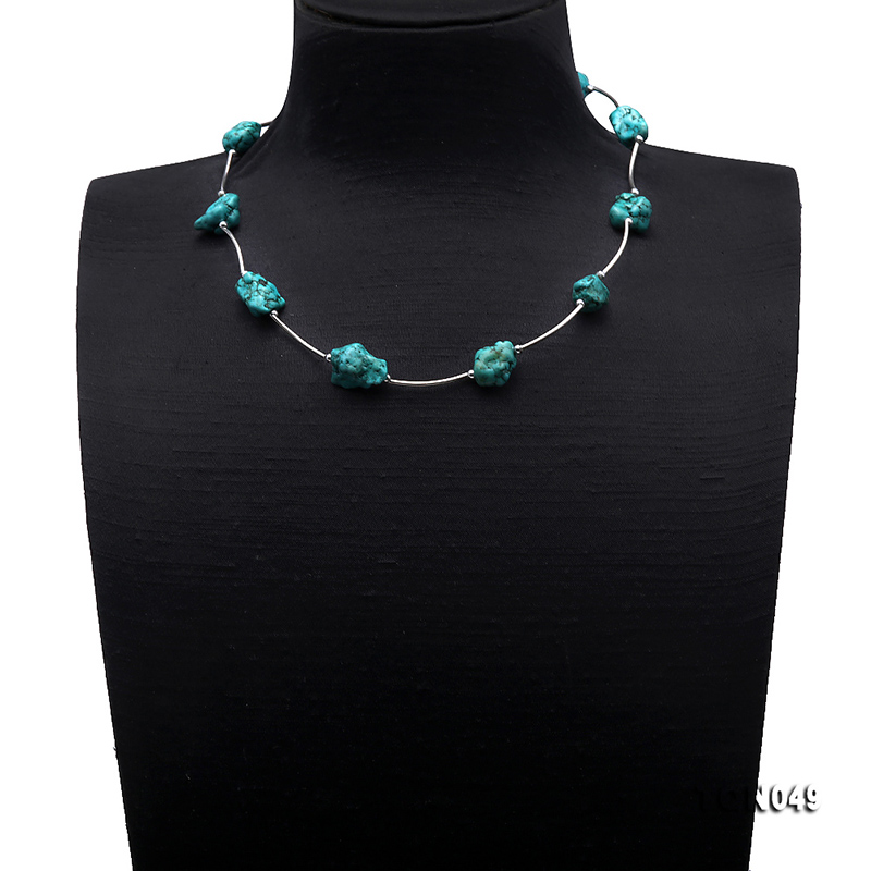 JYX 2019 Elegant Green Turquoise Necklace 13 20mm Oval Shape Turquoise Necklace for Women Gemstone 19 quot bohemia style summer in Necklaces from Jewelry amp Accessories