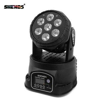 Envío rápido LED cabezal móvil Wash 7x12w RGBW iluminación Quad con advancedDJ DMX 10/15 canales, iluminación de escenario de SHEHDS