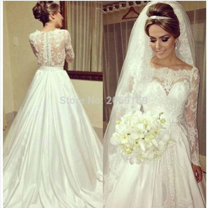 Vestidos De Noivas <font><b>2014</b></font> <font><b>Sexy</b></font> Long Sleeve Lace Wedding Dresses Vintage Wedding Dress Bride Dress 2019 Vestido De Casamento image