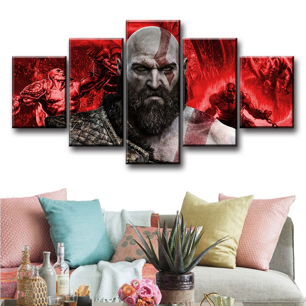 5 Piece God Of War Kratos Game Canvas Poster And Prints Modern Decorative Oil Painting Pictures Fantasy Wall Art For Home Decor in Painting Calligraphy from Home Garden