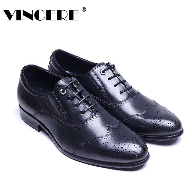 VINCERE Merek Sepatu Kulit Asli Gaun Sepatu Fashion Bisnis Pria Resmi Sepatu  Gaya Inggris Laki- ccf6199ae7