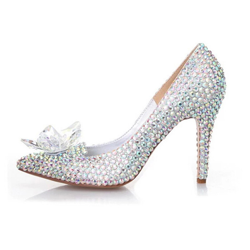 2018 Silver Rhinestone Bridal Wedding Shoes Cinderella Crystal Shoes High Heeled Women Stunning Glasses Slipper Prom Pumps cinderella high heels crystal wedding shoes 14cm thin heel rhinestone bridal shoes round toe formal occasion prom shoes