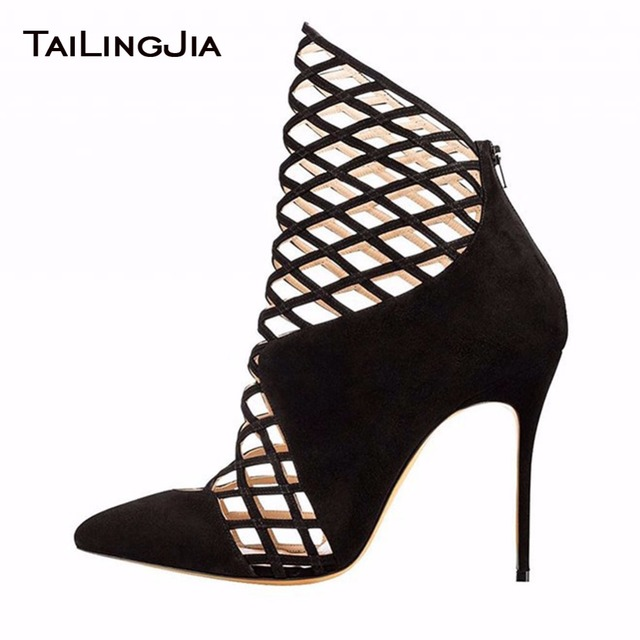 Sexy Pointed Toe Mesh Woman Summer Boots Fishing Net High Heel Fuax Suede Party Ladies Short Boots With Zipper Free Shipping