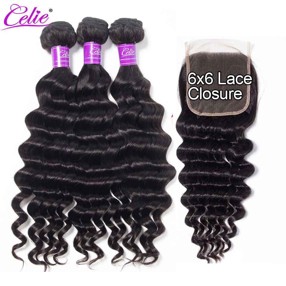 Celie Hair Brazilian Loose Deep Wave Bundles With Closure 3 Bundles With 6x6 Lace Closure Human