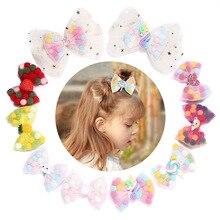 AHB Hair Accessories Cute Unicorn Bows Clips for Girls Mesh Colorful Pompom Hairpins Barrettes Kids Headwear