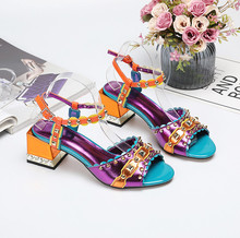 Chic women's rivets sandals 2019 summer chunky heels sandal shoes Fashion high heeled shoes EU35-41 size BY702