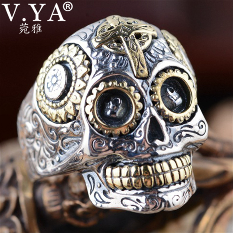 V.YA Flower & Cross 925 Sterling Silver Rings for Men Male Women Vintage Thai Silver Ring Skull Jewelry WholesaleV.YA Flower & Cross 925 Sterling Silver Rings for Men Male Women Vintage Thai Silver Ring Skull Jewelry Wholesale