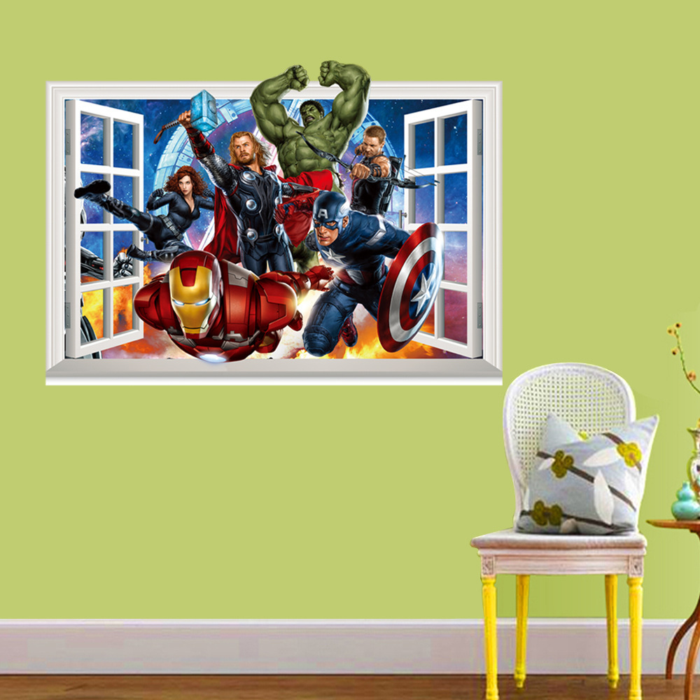 Top 3D Super Hero Marvel Party Decoration The Avengers Wall Sticker Home Decor for Kids Room