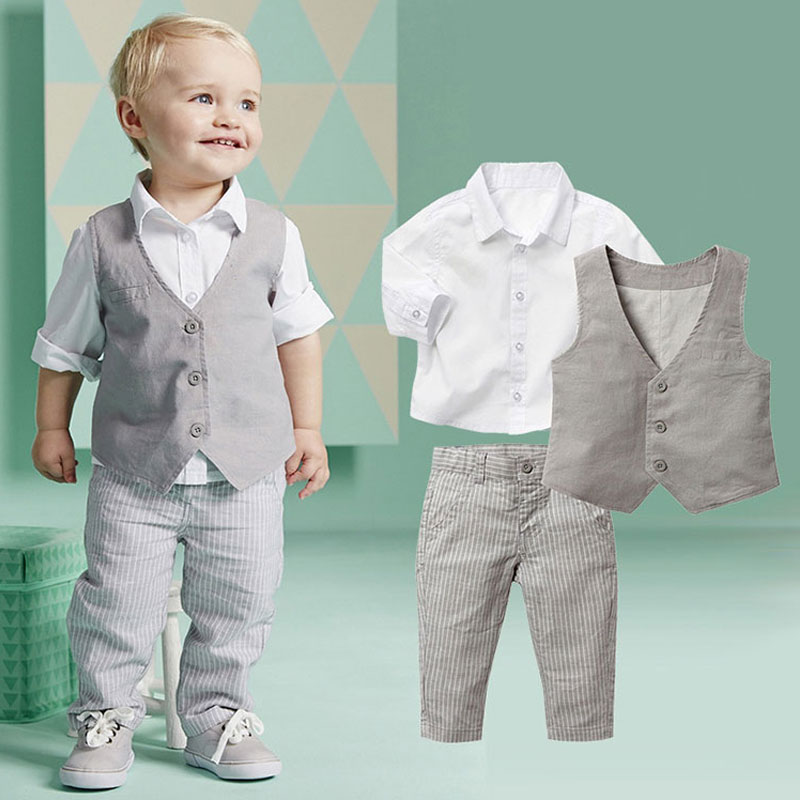 Formal Clothing Sets For Newborn Baby Boy Party and Wedding Infant Boys Clothes Set Cotton Child Boys Suit Vest+Shirt+Pant 2017 newborn baby girls clothes sets boy clothing set cute dinosaur top shirt pant with shoulder straps set for toddle kid girls boys