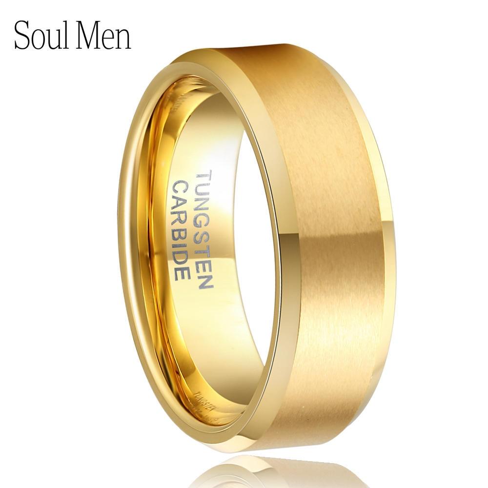 8mm kvinder mænds guld farve alliance tungsten carbide bryllup band ring til brude smykker mandlige anillos fuld størrelse 4 til 15 TU051R