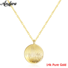 New Arrival 14K Yellow Gold Round Shape Necklace Pendant Women Fashion Jewelry Link Chain Necklace