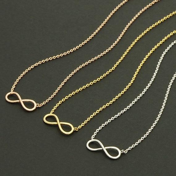 31ef430e0421 Delicado Amor Infinito Signo Mujeres Colgante Collar de Cadena de Oro de  Plata Chapado En Oro
