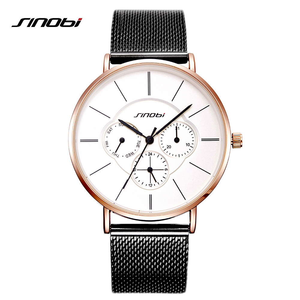 SINOBI Stylish Women Watches Golden Case Milan Mesh Casual Ladies Quartz Watch Best Gift Fashion Clock Calendar relogio feminino stylish golden hollow rounded rectangle hasp bracelet for women