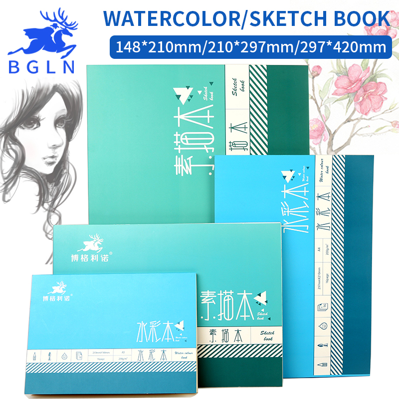 Bgln 1Piece Professional Watercolor/Sketch Paper 16/32Sheets Hand Painted Water-soluble Book Creative Office School Art Supplies a4 blank page 350g sketch watercolor paper water soluble color painting paper gouache paper gift box package art supplies
