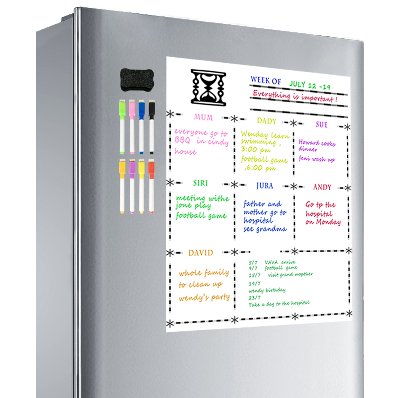 Free 8 Pen A3 Magnetic Refrigerator Dry Erase Whiteboard Flexible Magnet Board Fridge Board Weekly Planner MagnetiCalendar