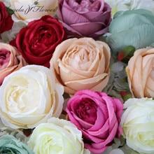 100 개/몫 큰 장미 꽃 머리 실크 DIY 웨딩 가짜 배열 꽃 가게 창 표시 호텔 벽 DIY 장식 홈