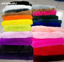 Wholesales Price Real Rabbit Fur 40x24cm DIY Scarves Hat Pompom Coat Blanket Cushion Sewing Material Fluffy Soft Genuine Fur R16