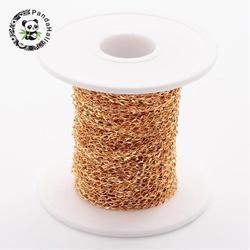 304 витые цепи из нержавеющей стали, Снаряженная Цепь, золотой, 2 мм; около 20 м/рулон