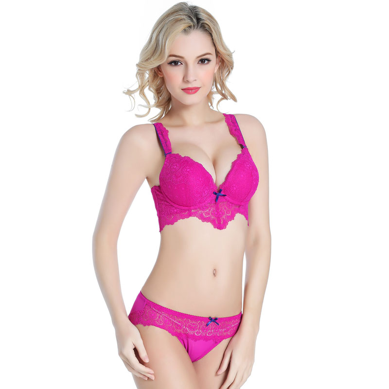ad574c8746 High Quality Women Intimates Padded Double Push Up Bra Set Victoria  Underwear Sexy Transparent Panty Female Lingerie Set N211-in Bra   Brief  Sets from ...