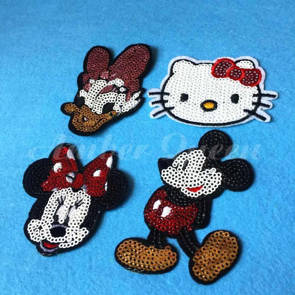 Vendita calda Del Panno Del Fumetto di Paillettes Toppe e Stemmi 8 pz/lotto di Mickey Mouse/Minnie/Margherita/Ciao Kitty Abbigliamento Applique FAI DA TE accessori