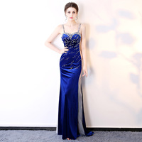 Handmade 2018 Women Dresses Bodycon Festival Elegant Evening Party Club Off the Shoulder Sexy Formal Dress Blue Cosplay costumes