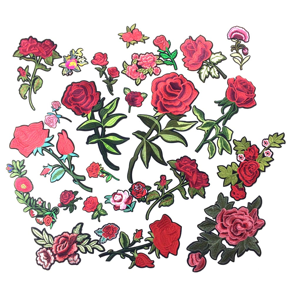 Embroidered rose flower patch iron on patches for clothing