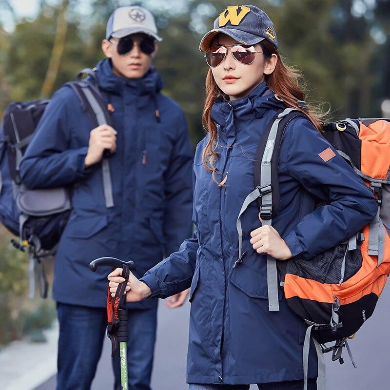 New men Women Winter Thermal jacket outdoor long coat for men women hiking Windbreaker male waterproof velvet jackets windproof