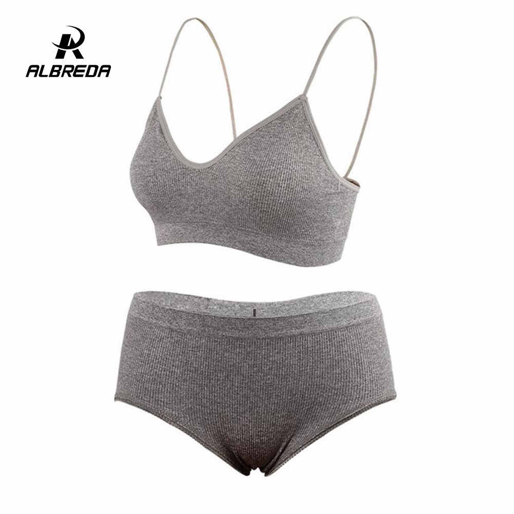 ALBREDA 2/PC Women's seamless sports bra workout fitness runing top sexy yoga bra set Breathable quick-drying sports vest suit
