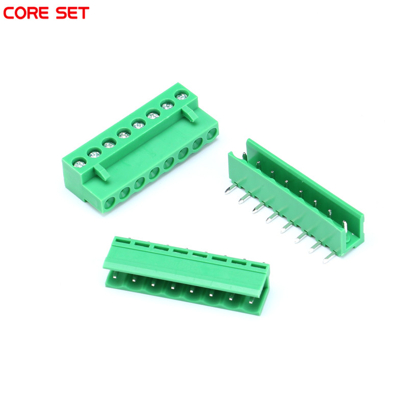 10sets 2P/3P/4P/5P/8P HT5.08 Kit 300V 10A Pluggable Terminal Block Connector 5mm Pitch with 2 species socket 29um68 p