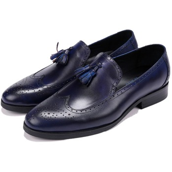 Fashion Prom Shoes Mens Dress Shoes Genuine Leather Business Shoes Male Formal Wedding Groom Shoes With Tassel
