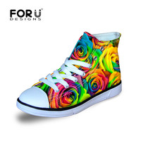 FORUDESIGNS Girls High Top Lace Up Sneakers Floral Canvas Platform Walking Shoes Painted Red Colorful Kids Children Sneakers
