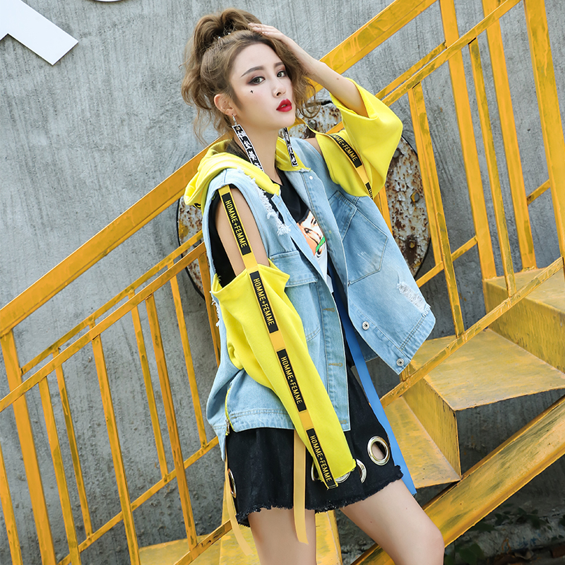 RosEvans Fashion font b Women b font Patch Designs Hooded font b Jean b font Jacket