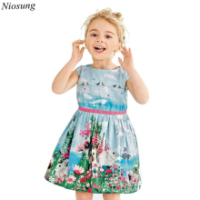 Niosung 2016 New Fashion Baby Girl Cotton Dress Clothes Children Princess Party Sleeveless Dresses Kids Childs Clothing v