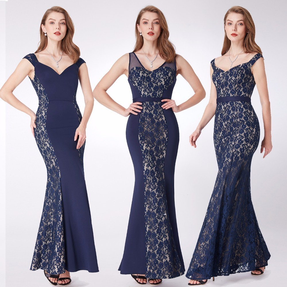 New Evening Dresses Ever Pretty EP07277 Mermaid Lace Sleeveless V neck Party Long Dress Navy Blue