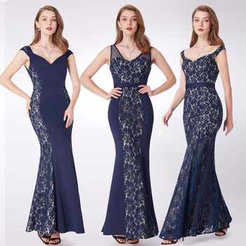 New Evening Dresses Ever Pretty EP07277 Mermaid Lace Sleeveless V-neck Party Long Dress Navy Blue Formal Dresses robe de soiree - DISCOUNT ITEM  52% OFF All Category