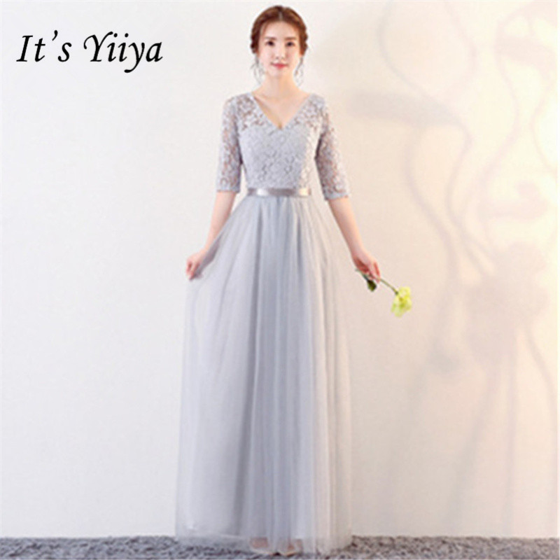 It's YiiYa New Lace Half Sleeve   Bridesmaid     Dresses   Fashion V-neck Back Lace Up A-line   Dress   B056
