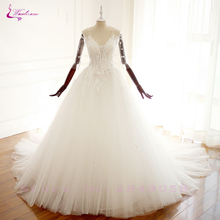 Waulizane Embroidered And Tulle With Beautiful Lac A Line Wedding Dresses V-Neckline Gown