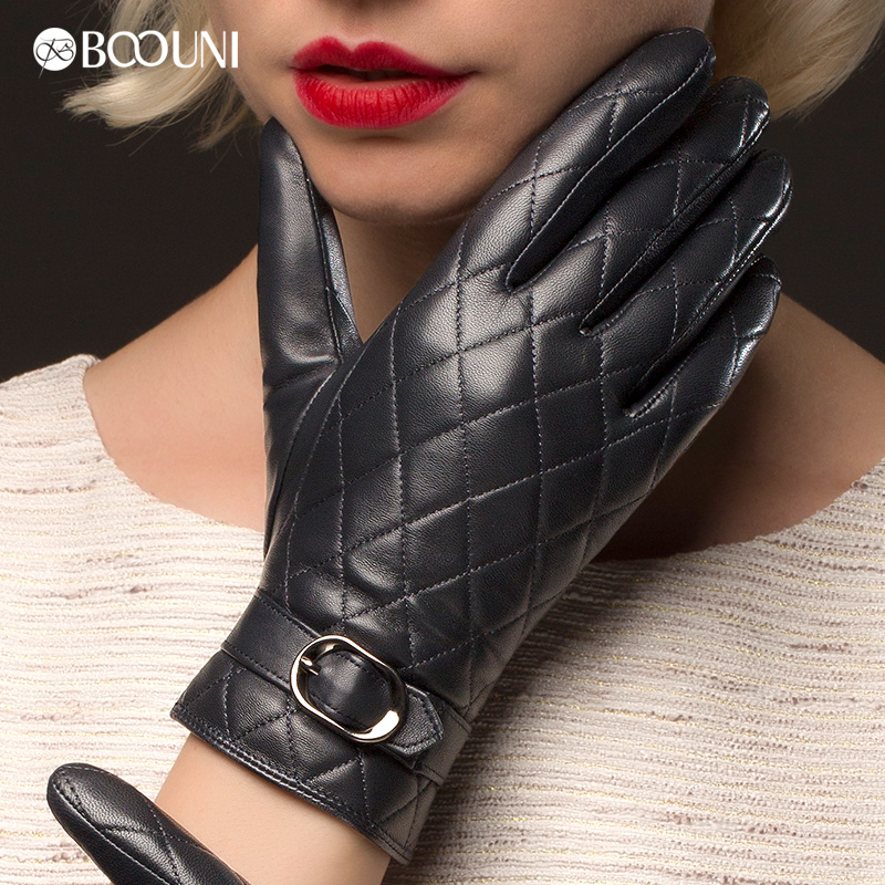 BOOUNI Genuine Leather Gloves Women Fashion Plaid Real Sheepskin - Apparel Accessories