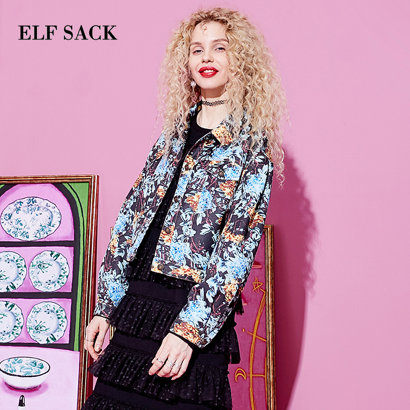 ELF SACK New Woman Jackets Casual Print Turn down Collar Single Breasted Full Ladies Outerwear Coats